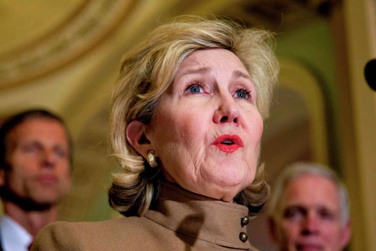 Sen. Kay Bailey Hutchison speaks on Capitol Hill in Washington on March 20, 2012.