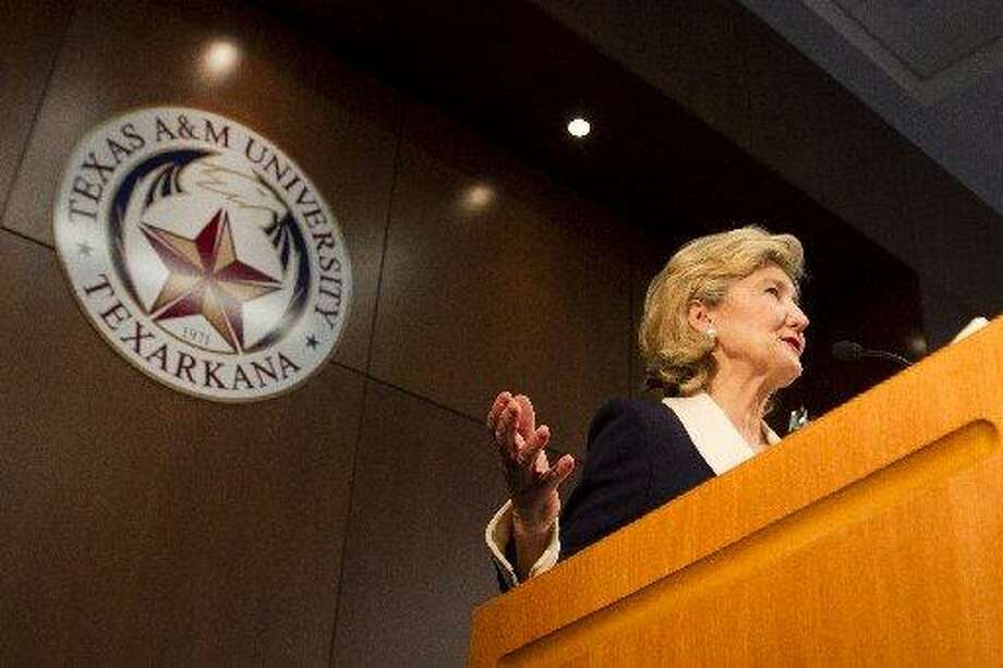 U.S. Sen. Kay Bailey Hutchison speaks during a ceremony held in her honor at Texas A&M University-Texarkana on Thursday, April 5, 2012, in Texarkana, Texas. Photo: Adam Sacasa, The Associated Press