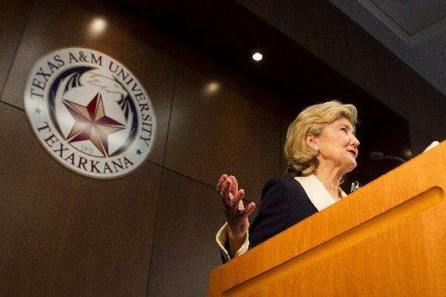 U.S. Sen. Kay Bailey Hutchison speaks during a ceremony held in her honor at Texas A&M University-Texarkana on Thursday, April 5, 2012, in Texarkana, Texas. Photo: Adam Sacasa, The Associated Press