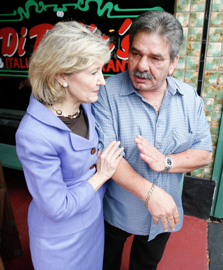 Kay Bailey Hutchison made a stop during a tour around Galveston Island to learn about the damage Hurricane Ike left behind prior to a hearing on Friday, Sept. 25, 2009, in Houston. Photo: Julio Cortez, Houston Chronicle / Houston Chronicle
