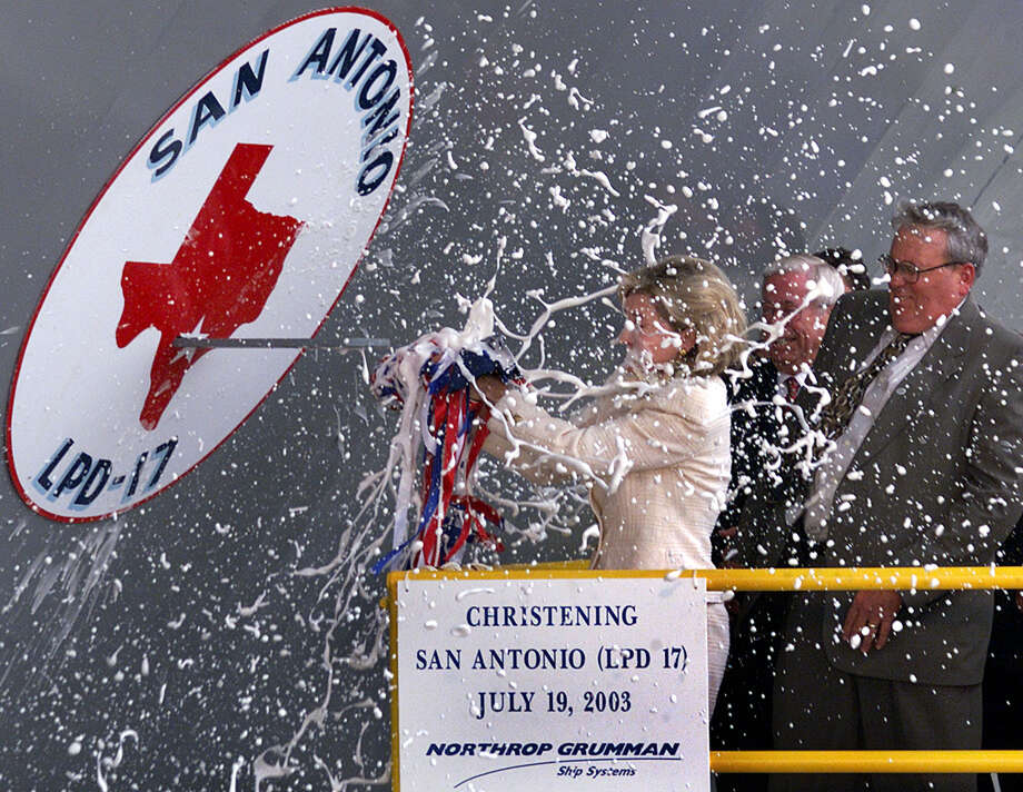 Sen. Kay Bailey Hutchison christens the U.S. Navy's newest amphibious transport dock ship San Antonio (LPD-17), Saturday, July 19, 2003, at Northrop Grumman Ship Systems in New Orleans. Photo: Bill Glenn, The Associated Press / NORTHRUP GRUMMAN SHIP SYSTEMS