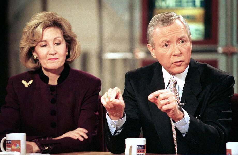 Sen. Orrin Hatch, R-Utah, and Sen. Kay Bailey Hutchison, R-Texas, discuss the ongoing Senate trial of President Clinton during NBC's 'Meet the Press' Sunday, Jan. 17, 1999 in Washington. Photo: Richard Ellis, The Associated Press / MEET THE PRESS