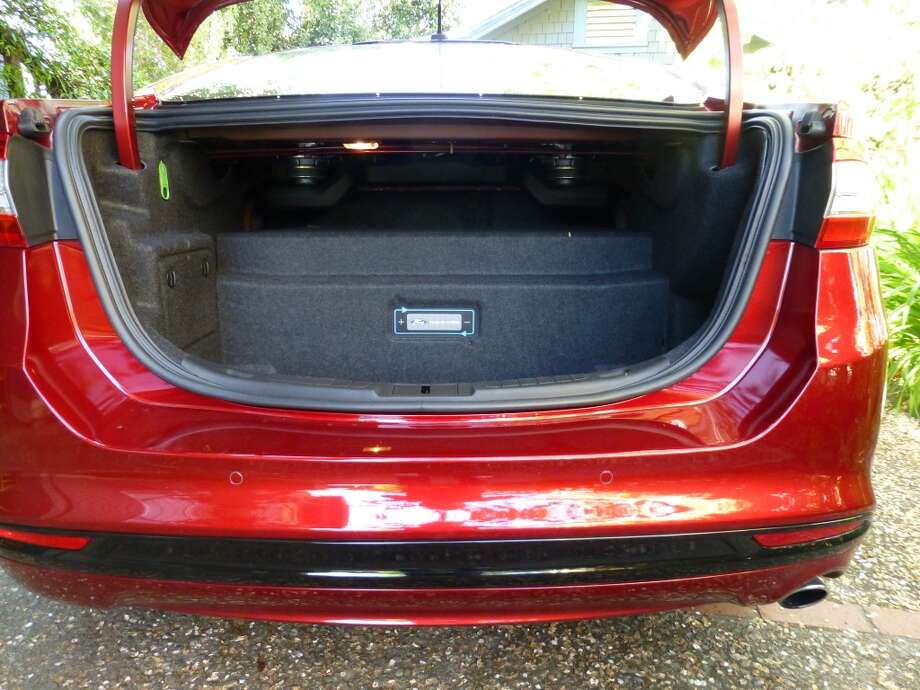 The trunk space is mostly taken up by the car\'s lithium-ion battery.