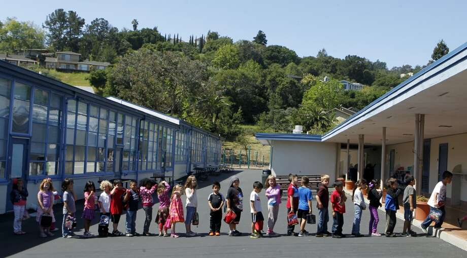 Students in Jennifer Overbey\'s kindergarten class line up after lunch at Clifford Elementary School in Redwood City, Calif. on Friday, April 12, 2013. Some homes in San Carlos that are within Clifford\'s region sell at a slightly lower value because the school\'s test scores are not quite as high as others in the area.
