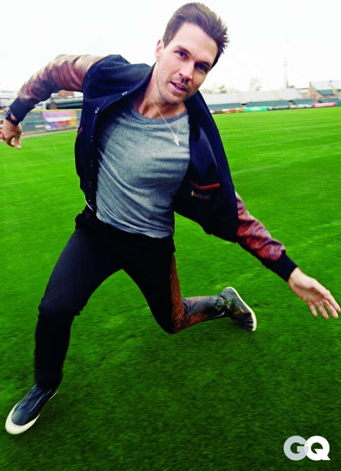 Barry Zito models for GQ. He is wearing: Jacket, $637 by Golden Bear Sportswear. T-shirt, $74 by Alexander Wang. Pants, $198 by Unis. Sneakers by Puma by Alexander McQueen.