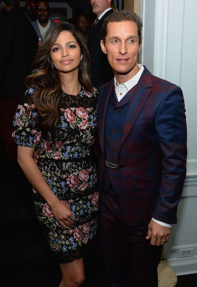 """NEW YORK, NY - APRIL 21:  Camila Alves and Matthew McConaughey attend the after party for The Cinema Society with FIJI Water & Levi\'s screening of \""""Mud\"""" at Harlow on April 21, 2013 in New York City.  (Photo by Dimitrios Kambouris/Getty Images)"""