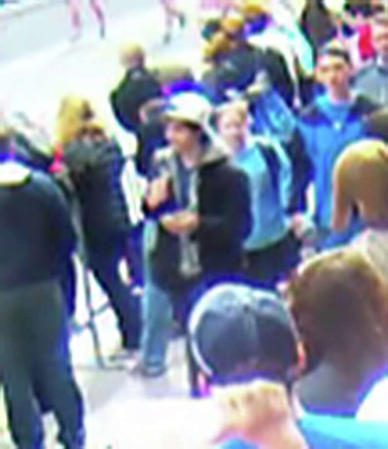 This image released by the FBI shows suspects in the Boston Marathon bombing captured by surveillance cameras. Photo: Handout Photo / FBI