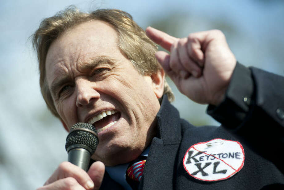 Bobby Kennedy and Jr. protests against Keystone XL Pipeline at Lafayette Park on February 13, 2013 in Washington, DC.