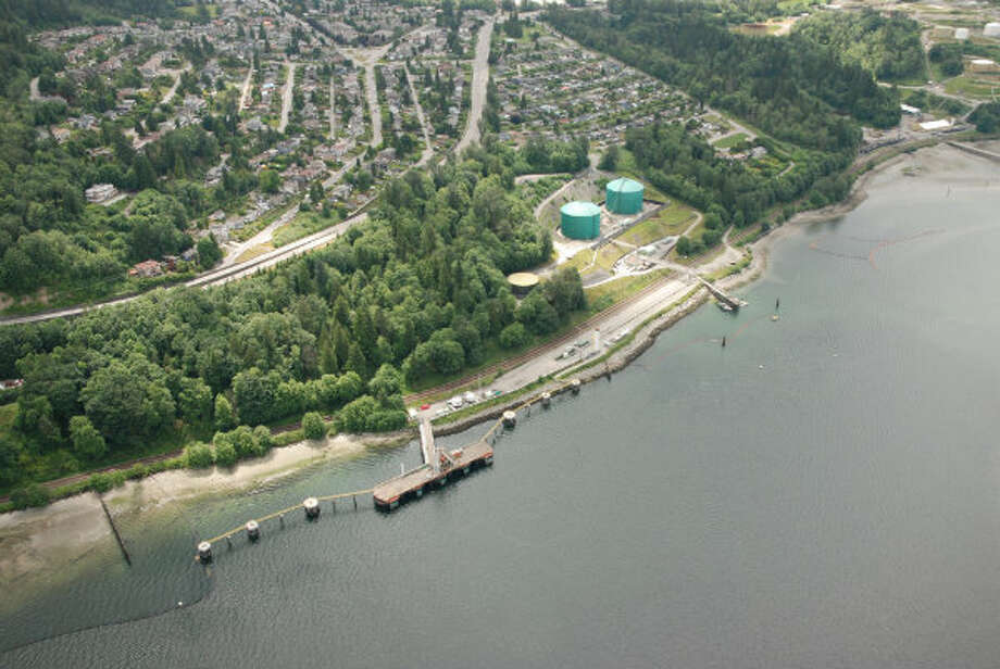 Aerial shot of Westridge Marine Terminal in Burnaby, British Columbia. Photo: Trans Mountain