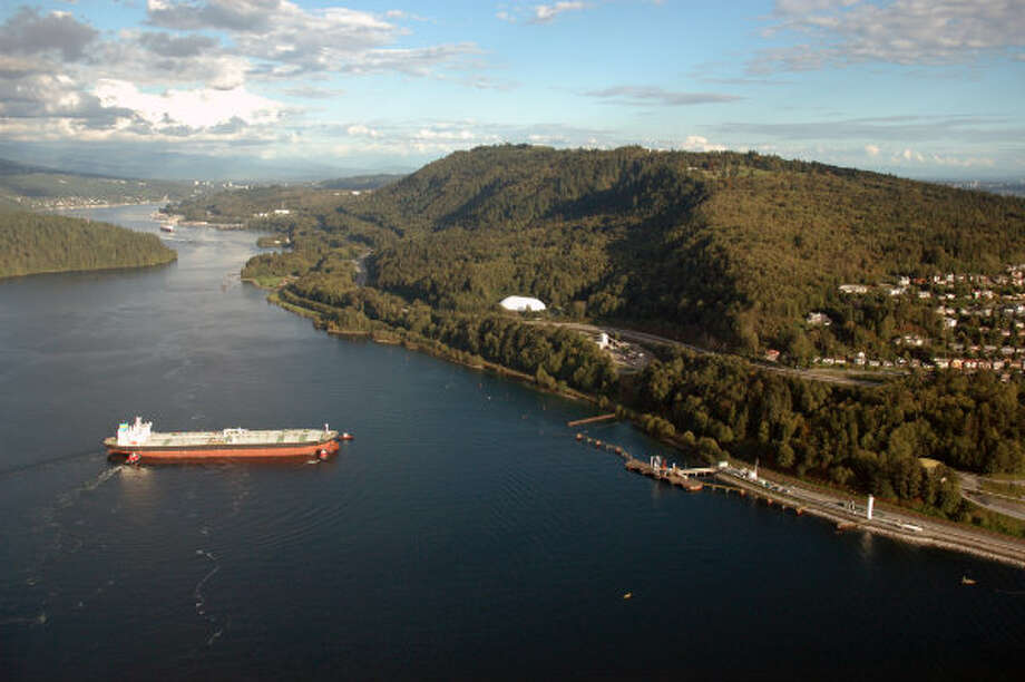 An aerial shot of a tanker arriving at Westridge Marine Terminal in Burnaby, British Columbia. Photo: Trans Mountain