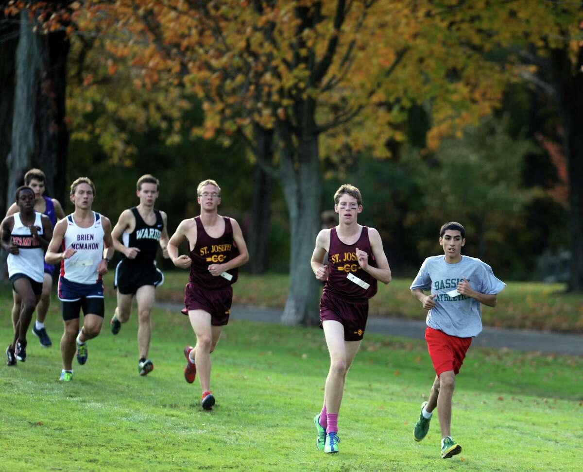 Bassick's top runner, 16-year-old Saman Hassan, competes in the FCIAC conference cross country championships Thursday, Oct. 18, 2012 at Waveny Park in New Canaan.