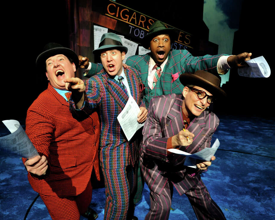 "Jayson Elliot (Nicely-Nicely Johnson), Matthew Dailey (Angie the Ox), Sheldon Henry (Benny Southstreet) and Jonathan Stahl ( Rusty Charlie) perform ""Fugue For Tinhorns"" in ""Guys and Dolls."" ""I got a horse right here, the name is Paul Revere"" is among the song's well-known lyrics. The show will be on stage at Westchester Broadway Theatre through June 9. Photo: Contributed Photo"