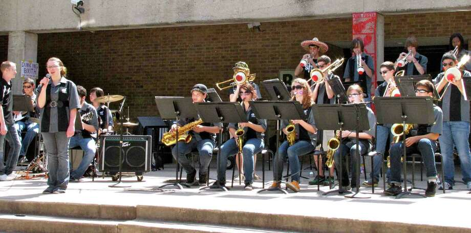 "The Clark High School Jazz Band performs ""My Funny Valentine"" during the band boosters' Funday Sunday on campus. Photo: Edmond Ortiz / North Central New"