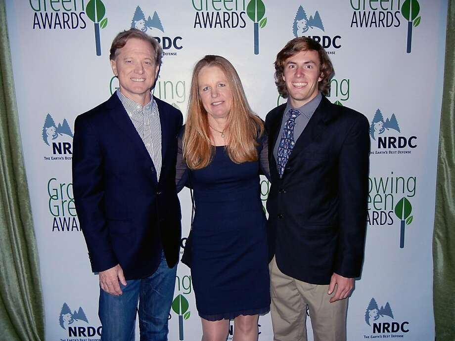 At the NRDC awards dinner, back row: Jamie Redford (left), Kirby Walker, Carson Cornbrooks. Photo: Catherine Bigelow, Special To The Chronicle