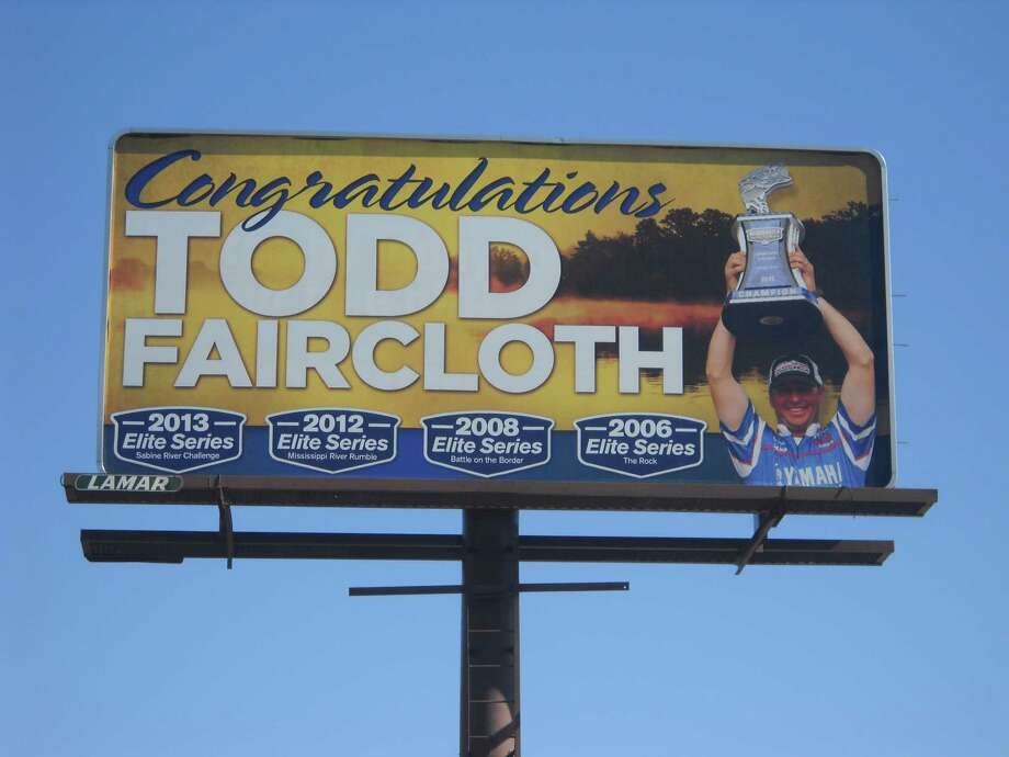 Kevin Rawson showed his support fro his longtime friend, Todd Faircloth, with this billboard. photo by Jeff Reedy