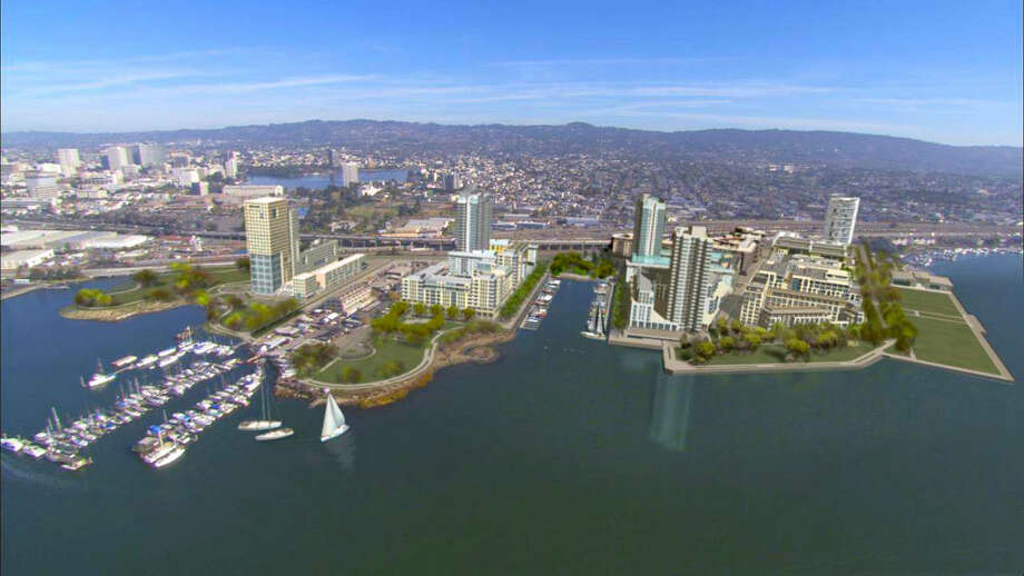 A rendering of a redevelopment of 65 acres of waterfront property on the Oakland Estuary of San Francisco Bay, near Jack London Square. The project, called Brooklyn Basin, will consist of 3,100 residential units, approximately 200,000 square feet of retail and commercial space, and a marina with up to 200 boat slips. More than 30 acres have been set aside for waterfront parks and open space. Photo: -, Oakland Harbor Partners / ONLINE_YES