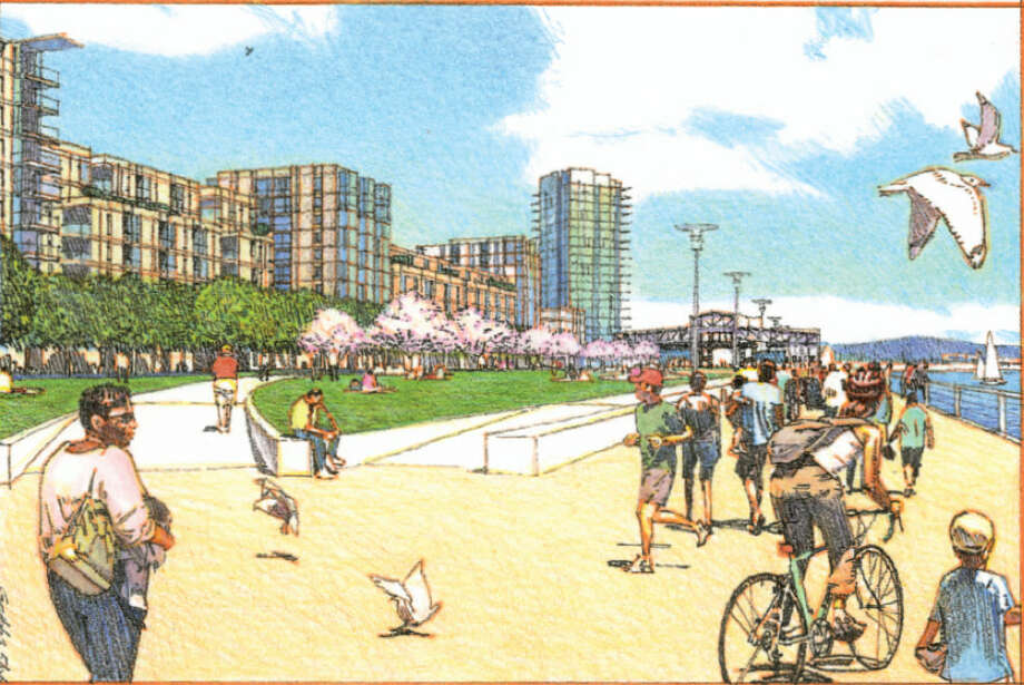 A rendering of a redevelopment of 65 acres of waterfront property on the Oakland Estuary of San Francisco Bay, near Jack London Square. The project, called Brooklyn Basin, will consist of 3,100 residential units, approximately 200,000 square feet of retail and commercial space, and a marina with up to 200 boat slips. More than 30 acres have been set aside for waterfront parks and open space. Photo: ROMA Design Group, Oakland Harbor Partners / ONLINE_YES