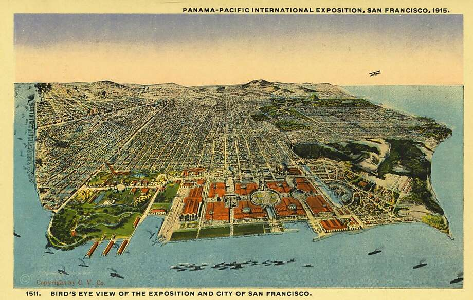 An aerial view of the Panama-Pacific International Exposition and the city of San Francisco around 1915. Photo: UniversalImagesGroup