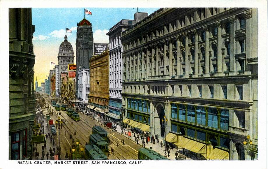 Vintage 1921 postcard showing a bird's eye view down Market Street. Cable cars travel down the street and the sidewalks are filled with pedestrians. Photo: Curt Teich Postcard Archives