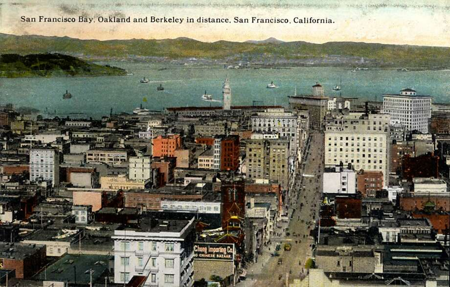 Vintage 1922 postcard showing a bird's eye view over the city, out to the bay and on to Berkeley and Oakland in the distance. Photo: Curt Teich Postcard Archives