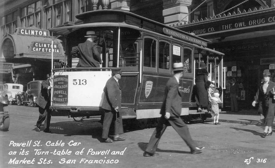 Postcard shows the Powell Street cable car on its turntable at Powell & Market streets, San Francisco, early twentieth century. Photo: Transcendental Graphics