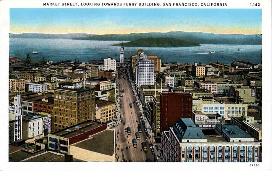 Vintage postcard showing a bird's eye view looking down Market Street toward the bay and showing the Ferry Building at the end of the street. Photo: Curt Teich Postcard Archives