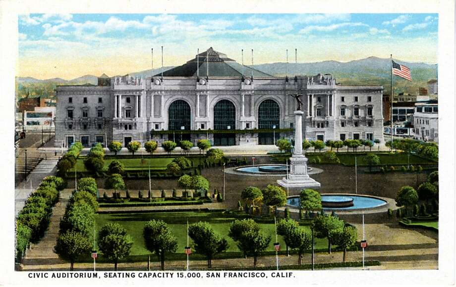 Vintage 1921 postcard showing the exterior of the Civic Auditorium. The landscaped plaza with two pools is visible in the foreground. Photo: Curt Teich Postcard Archives