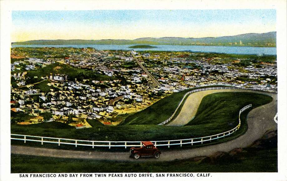Vintage 1921 postcard showing a bird's eye view of San Francisco and the bay from Twin Peaks Auto Drive. Can anyone identify the auto in the foreground?  Photo: Curt Teich Postcard Archives