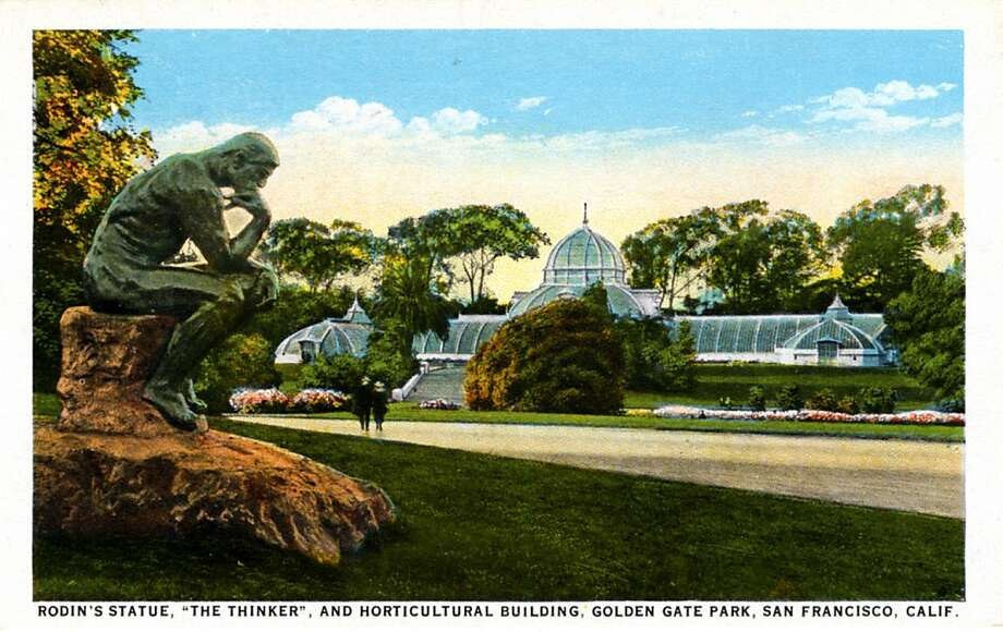 "Vintage 1921 postcard showing the Rodin sculpture ""The Thinker"" in the left foreground and the conservatory-style glass Horticultural Building in the background. Photo: Curt Teich Postcard Archives"