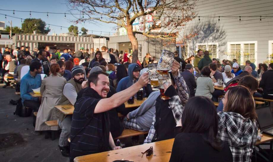 Biergarten (424 Octavia St, San Francisco): It will be crowded during nice weather, but Proxy's most popular area is a very good development for Hayes Valley. Photo: San Francisco Chronicle