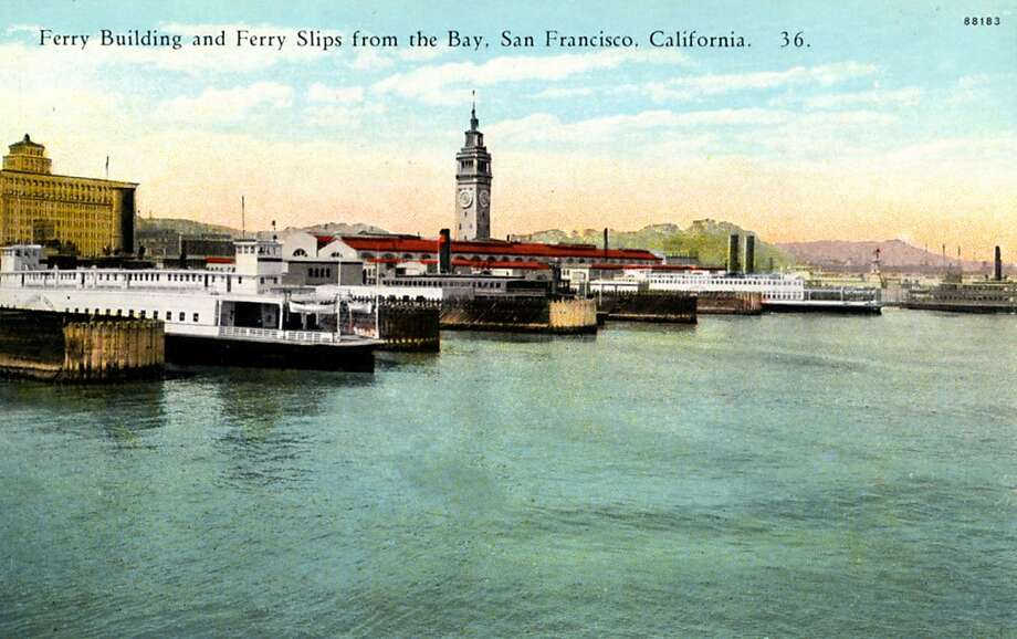 Vintage 1922 postcard showing ferry boats parked in slips with the Ferry building in the background. Photo: Curt Teich Postcard Archives