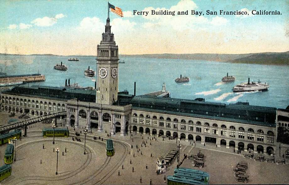 Vintage 1922 postcard showing the Ferry Building and Embarcadero.   Photo: Curt Teich Postcard Archives