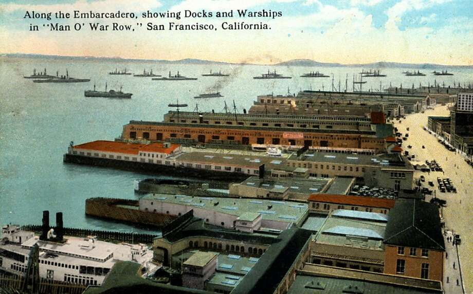 Vintage 1922 postcard showing a bird's eye view over the docks leading into the bay from the Embarcadero.  Photo: Curt Teich Postcard Archives