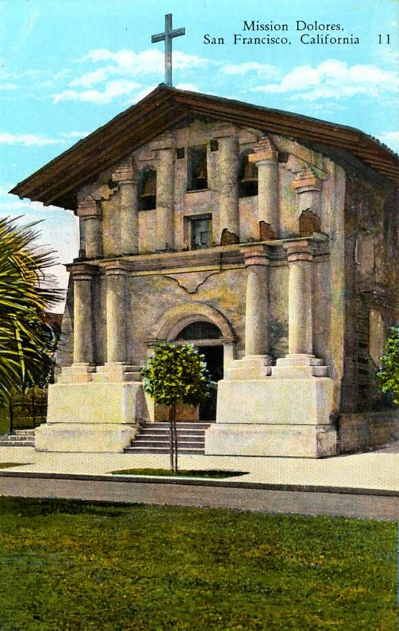 Vintage postcard showing the exterior of Mission Dolores. Photo: Curt Teich Postcard Archives