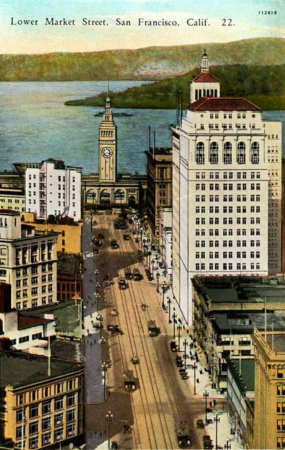 Vintage postcard showing a bird's eye view of Lower Market Street. The Ferry Building and bay are at the end of the street. Photo: Curt Teich Postcard Archives
