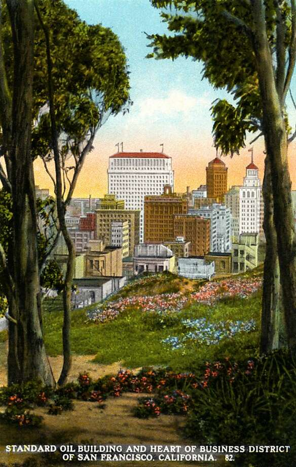 Vintage 1926 postcard showing a view of the Standard Oil building and San Francisco's Financial District looking through a grove of trees and over a meadow. Photo: Curt Teich Postcard Archives