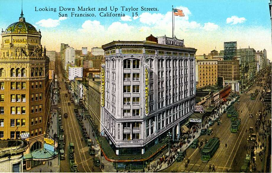Vintage 1926 postcard showing a bird's eye view cityscape of San Francisco's Market and Taylor streets, the street are crowded with traffic, automobiles, pedestrians and cable cars, the Golden Café is on the left and the Loews Warfield is in the center of the image. Photo: Curt Teich Postcard Archives