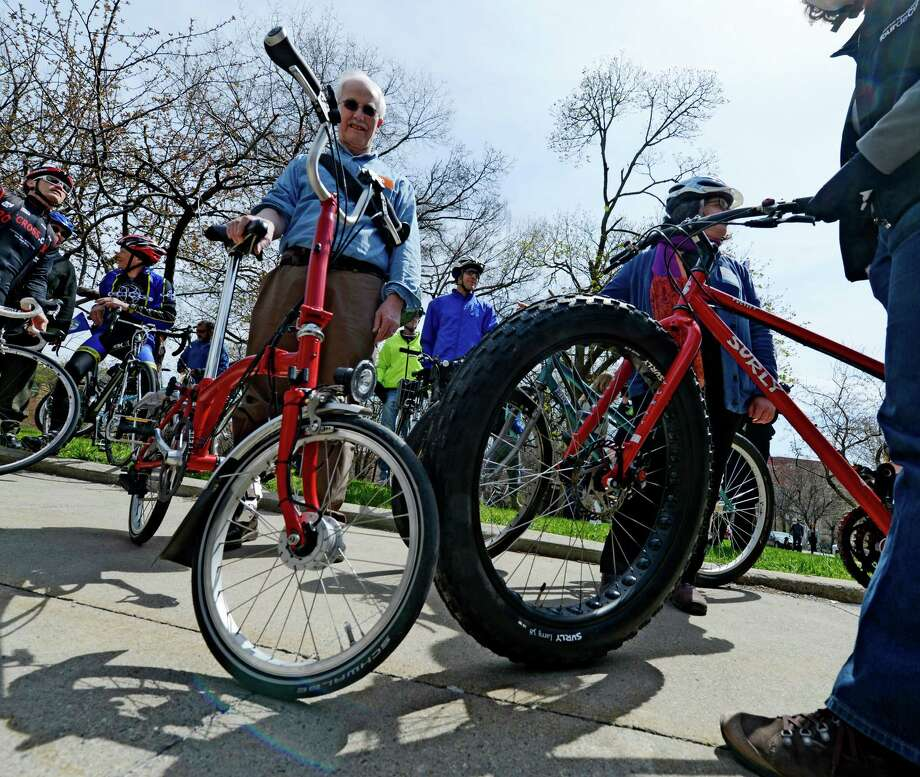 Bikers line up for an Earth Day bike parade April 22, 2013 in Albany, N.Y.    (Skip Dickstein/Times Union) Photo: SKIP DICKSTEIN / 10022016A