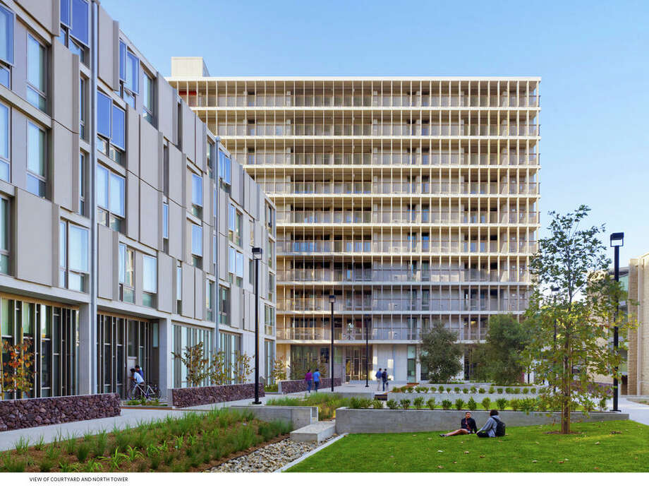 "The Charles David Keeling Apartments, designed by KieranTimberlake, are on the southwestern edge of the University of California San Diego campus, overlooking the coastal cliffs of La Jolla. A project writeup says: ""Named for the scientist whose research first alerted the world to the possibility of the human impact on global atmospheric carbon, the apartments employ a suite of tactics to address Southern California's pressing environmental challenges of stormwater management, water scarcity, and carbon emissions.""