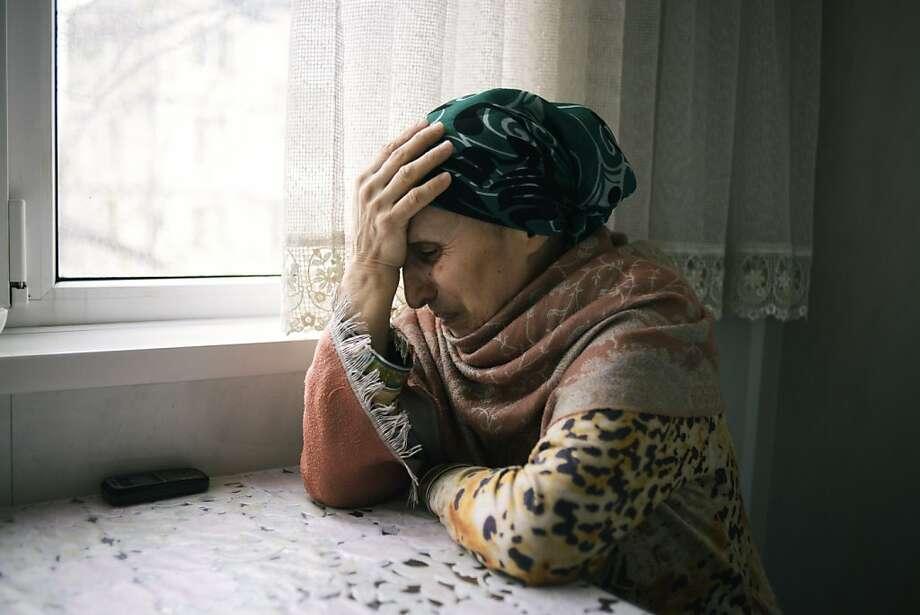 Patimat Suleimanova, aunt of Boston Marathon bombing suspects, despairs at her home in Dagestan. Photo: Dmitry Kostyukov, New York Times