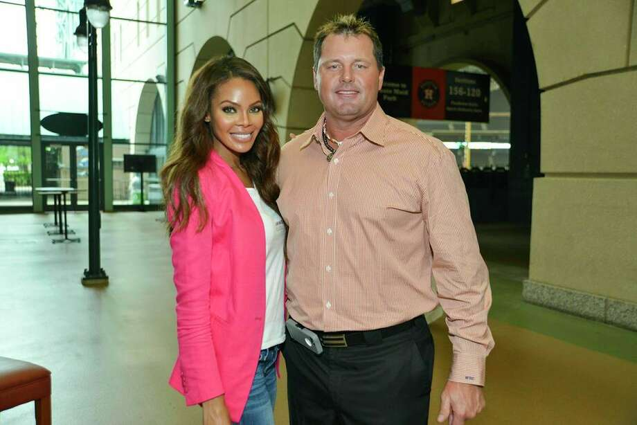 Crystle Stewart, left, and Roger Clemens  at the I Am Waters event, at the Minute Maid Stadium, Houston, Texas on the 18th April 2013.