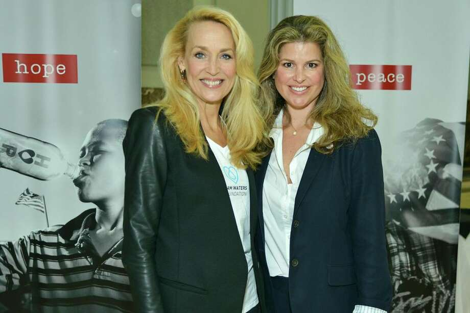 Jerry Hall, left, and Elena Davis  at the I Am Waters event, at the Minute Maid Stadium, Houston, Texas on the 18th April 2013.