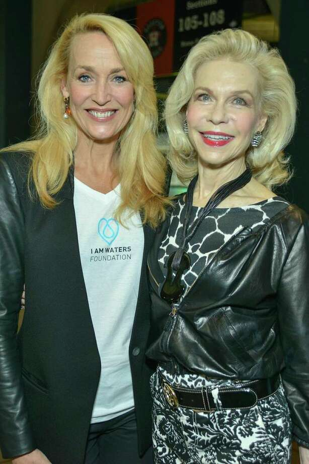 Jerry Hall, left, and Lynn Wyatt  at the I Am Waters event, at the Minute Maid Stadium, Houston, Texas on the 18th April 2013.