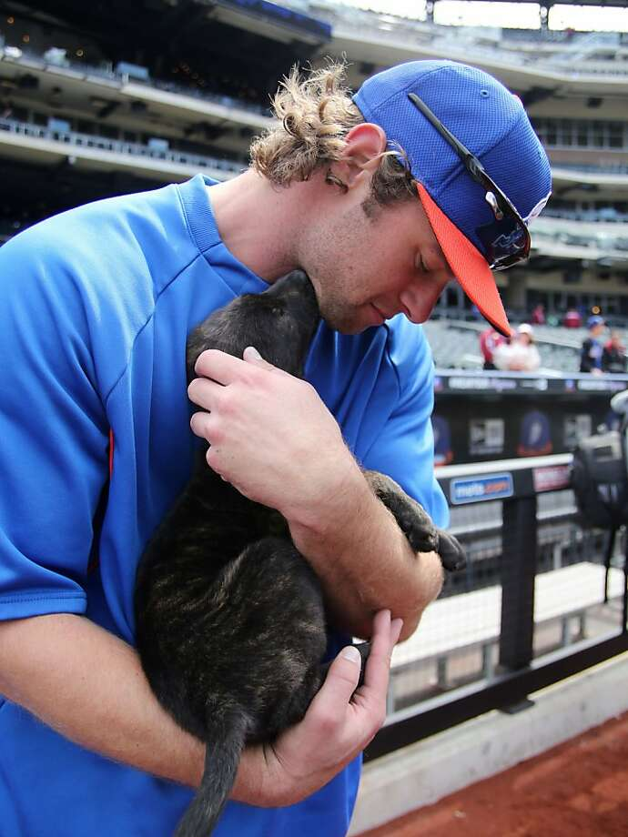"I love you even though you're batting .125: A puppy gives the Mets' Kirk Nieuwenhuis some chin music during ""Bark in the Park"" before the New York-Washington game in New York. Photo: Peter Morgan, Associated Press"
