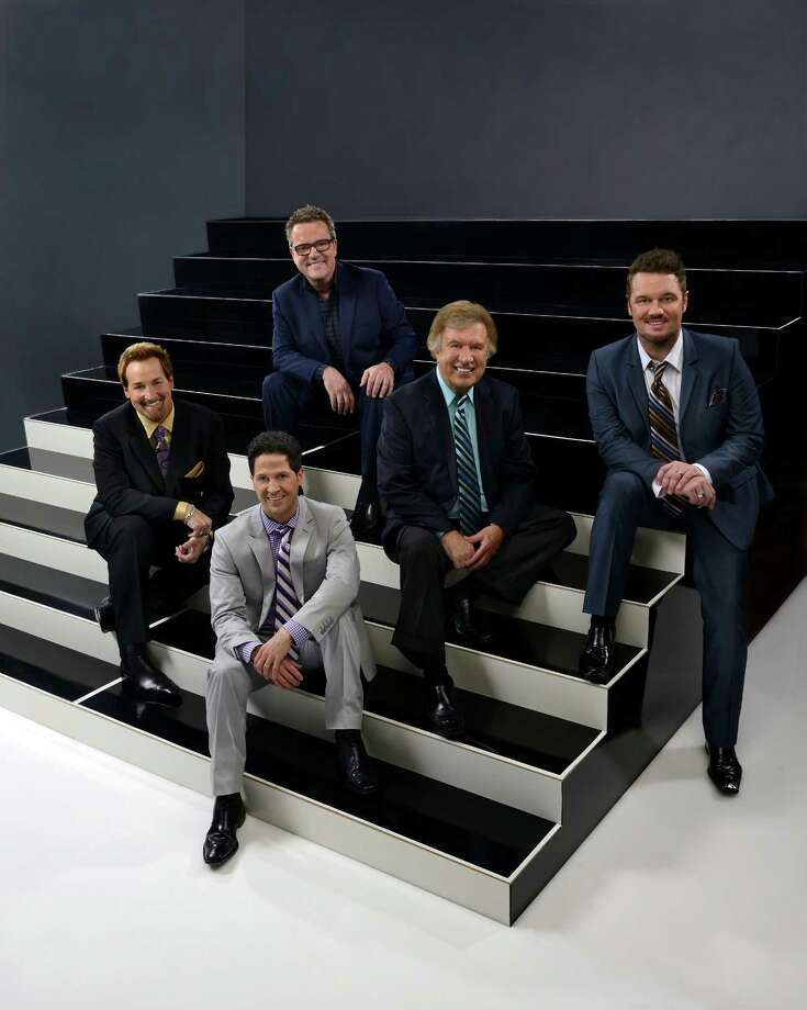The Gaither Vocal Band, with all-star lineup Mark Lowry, Michael English, David Phelps, Wes Hampton and Bill Gaither, will perform at Ford Park on July 29.  Photo provided by The Gaither Vocal Band Photo: The Gaither Vocal Band