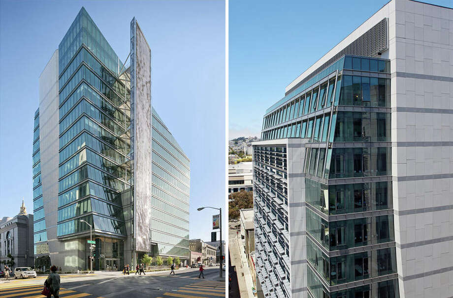 "The San Francisco Public Utilities Commission's new headquarters ""acts as the defining northwest edge to the large 'urban room' formed by the buildings of the (San Francisco) Civic Center,"" according to a writeup for the KMD Architects project.The 277,500-square foot, 13-story building features a wind tower and sculpted facade designed to channel wind toward a vertical column of turbines; shelves that bounce light further into interior spaces; a rainwater harvesting system; a bevel on the uppermost floors to allow sunlight to reach the play area of a nearby school; artist Ned Kahn's ""Firefly"" installation, which features small panels that move with wind patters, causing LEDs to flicker; a grand stairway that encourages people to use it, rather than elevators; windows that open; and three solar-power arrays. Photo: Bruce Damonte"