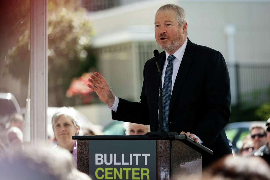 Mayor Mike McGinn speaks at the grand opening of the Bullitt Center on Earth Day Monday on Capitol Hill in Seattle. This six-story, 50,000 square-foot structure is the greenest commercial building in the world and aims to improve long-term environmental performance and efficiency through cutting-edge sustainable technology. Photo: JORDAN STEAD, SEATTLEPI.COM / SEATTLEPI.COM