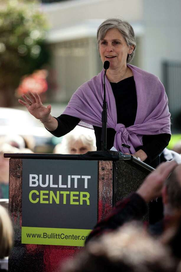 Bullitt Foundation board chair Maud Daudon addresses a crowd at the grand opening of the Bullitt Center on Earth Day Monda, on Capitol Hill in Seattle. This six-story, 50,000 square-foot structure is the greenest commercial building in the world and aims to improve long-term environmental performance and efficiency through cutting-edge sustainable technology. Photo: JORDAN STEAD, SEATTLEPI.COM / SEATTLEPI.COM