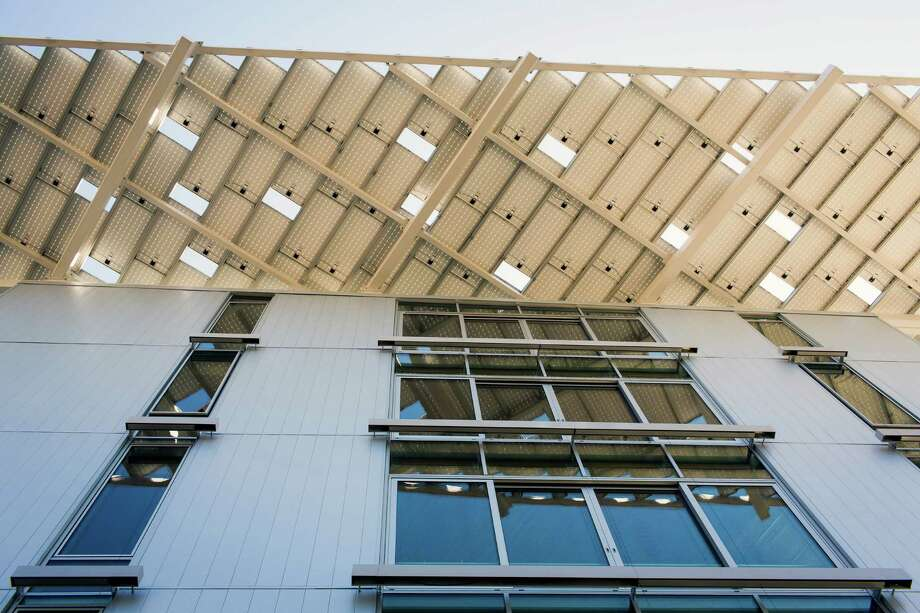 A view of the side of the new Bullitt Center on Earth Day Monday on Capitol Hill in Seattle. This six-story, 50,000 square-foot structure is the greenest commercial building in the world and aims to improve long-term environmental performance and efficiency through cutting-edge sustainable technology. Photo: JORDAN STEAD, SEATTLEPI.COM / SEATTLEPI.COM