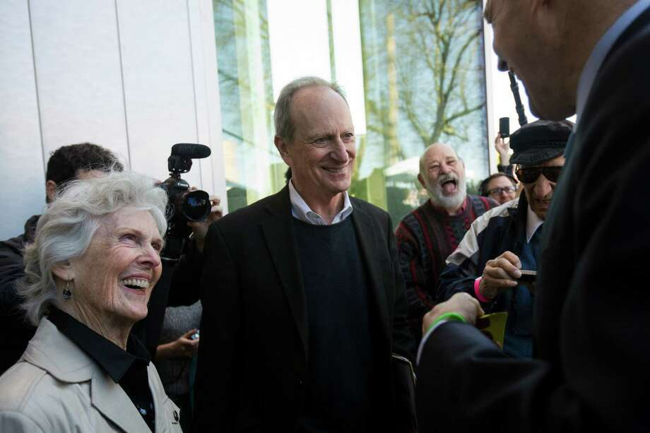 Bullitt Foundation CEO Denis Hayes, center, chats with Harriet Bullitt, left, and Jay Inslee, right, at the grand opening of the Bullitt Center on Earth Day Monday on Capitol Hill in Seattle. This six-story, 50,000 square-foot structure is the greenest commercial building in the world and aims to improve long-term environmental performance and efficiency through cutting-edge sustainable technology. Photo: JORDAN STEAD, SEATTLEPI.COM / SEATTLEPI.COM